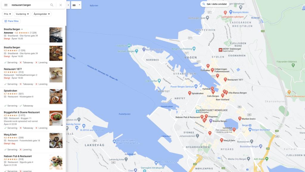 Google min bedrift Bergen